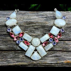 Pink Topaz Moonstone Iolite Gemstone Necklace
